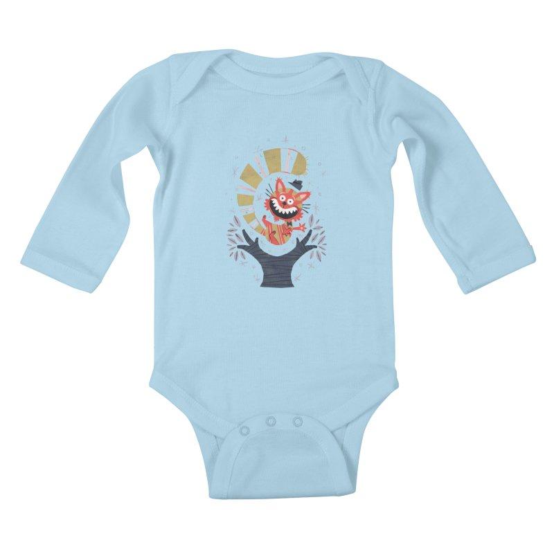 Cheshire Cat - Alice in Wonderland Kids Baby Longsleeve Bodysuit by WanderingBert Shirts and stuff