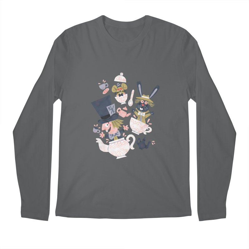 Mad Hatter's Tea Party - Alice in Wonderland Men's Longsleeve T-Shirt by WanderingBert Shirts and stuff