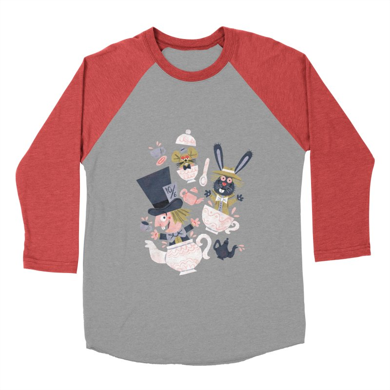 Mad Hatter's Tea Party - Alice in Wonderland Men's Baseball Triblend T-Shirt by WanderingBert Shirts and stuff