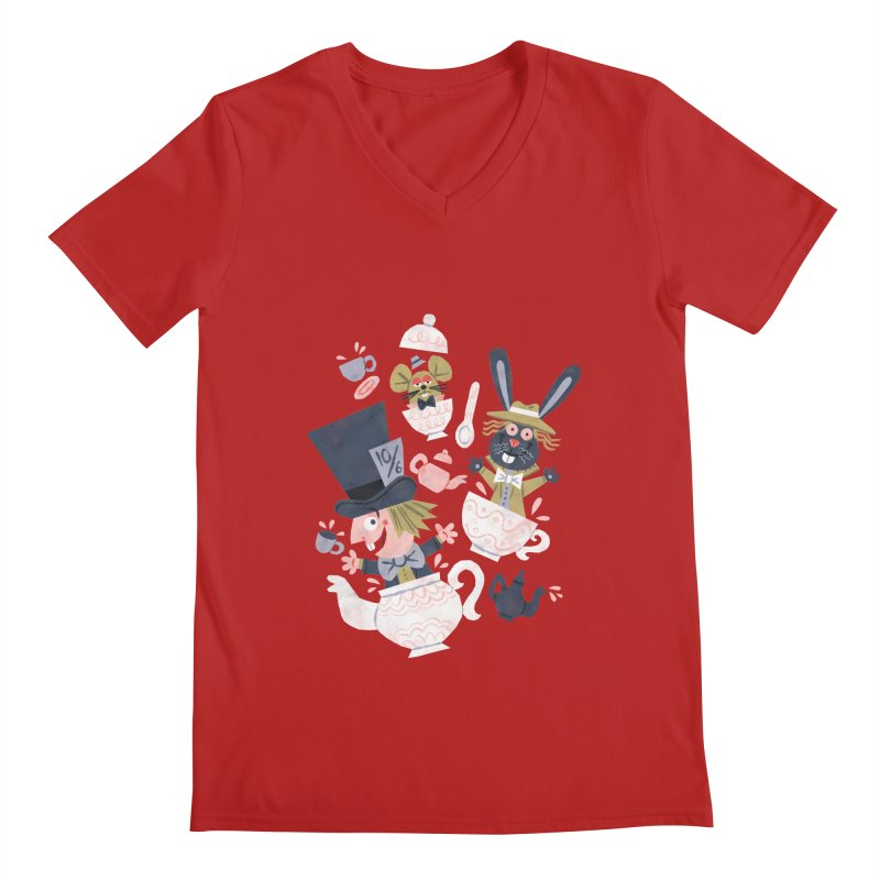 Mad Hatter's Tea Party - Alice in Wonderland Men's V-Neck by WanderingBert Shirts and stuff