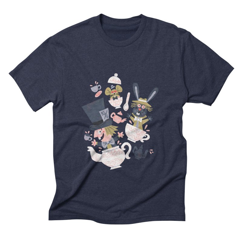 Mad Hatter's Tea Party - Alice in Wonderland Men's Triblend T-shirt by WanderingBert Shirts and stuff