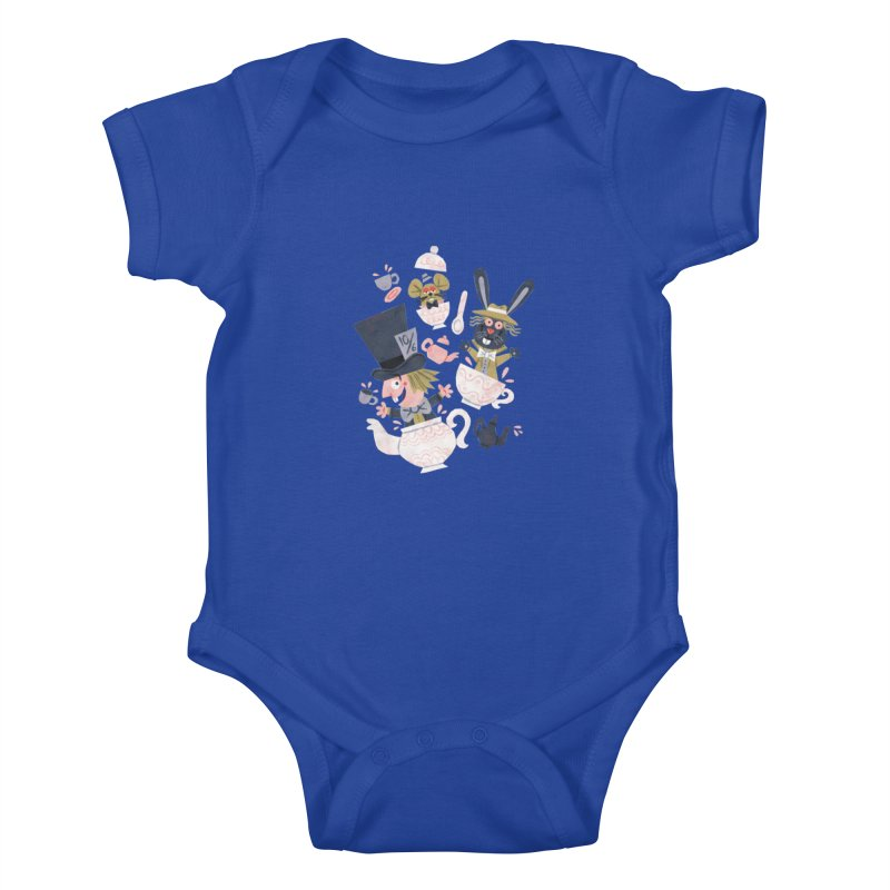 Mad Hatter's Tea Party - Alice in Wonderland Kids Baby Bodysuit by WanderingBert Shirts and stuff