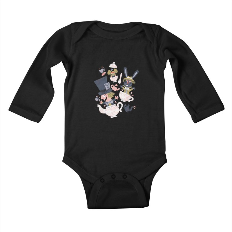 Mad Hatter's Tea Party - Alice in Wonderland Kids Baby Longsleeve Bodysuit by WanderingBert Shirts and stuff