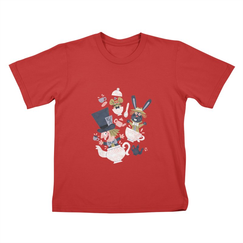 Mad Hatter's Tea Party - Alice in Wonderland Kids T-shirt by WanderingBert Shirts and stuff