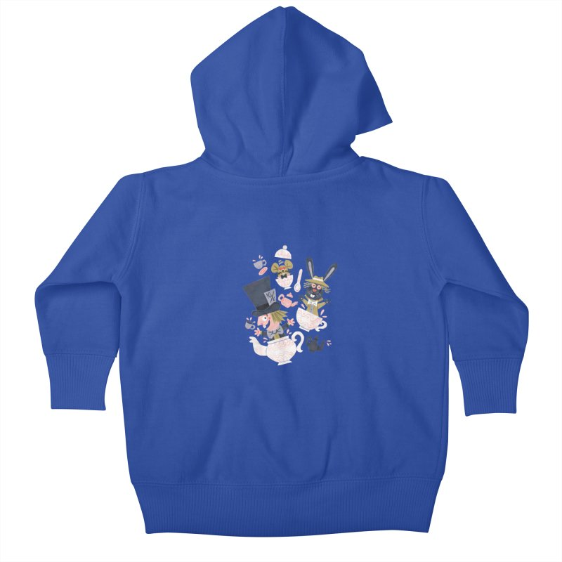 Mad Hatter's Tea Party - Alice in Wonderland Kids Baby Zip-Up Hoody by WanderingBert Shirts and stuff