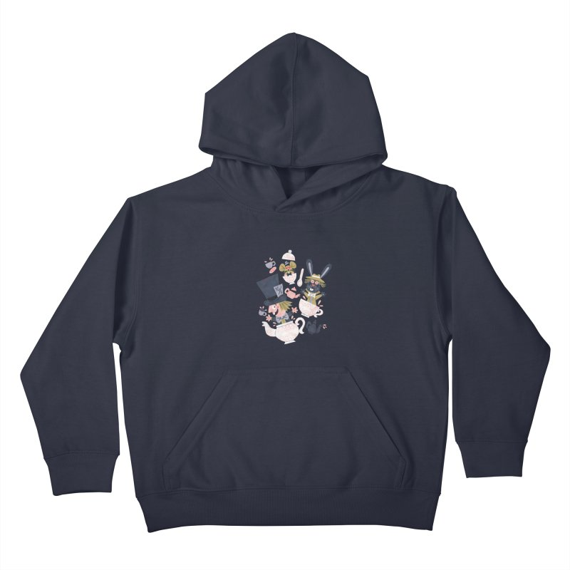 Mad Hatter's Tea Party - Alice in Wonderland Kids Pullover Hoody by WanderingBert Shirts and stuff