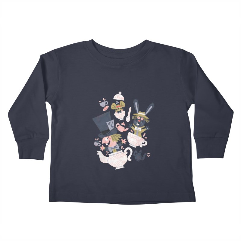 Mad Hatter's Tea Party - Alice in Wonderland Kids Toddler Longsleeve T-Shirt by WanderingBert Shirts and stuff