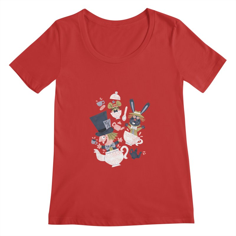 Mad Hatter's Tea Party - Alice in Wonderland Women's Scoopneck by WanderingBert Shirts and stuff