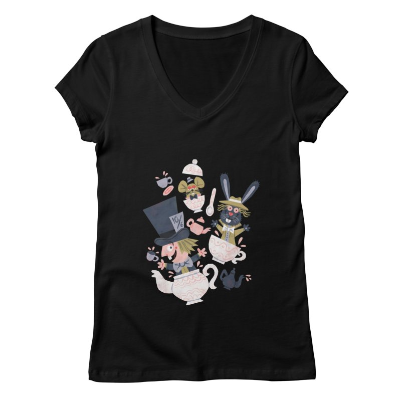 Mad Hatter's Tea Party - Alice in Wonderland Women's V-Neck by WanderingBert Shirts and stuff