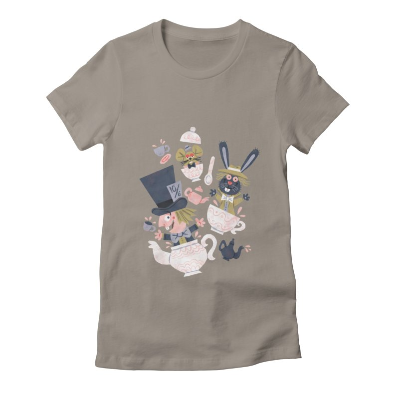 Mad Hatter's Tea Party - Alice in Wonderland Women's Fitted T-Shirt by WanderingBert Shirts and stuff