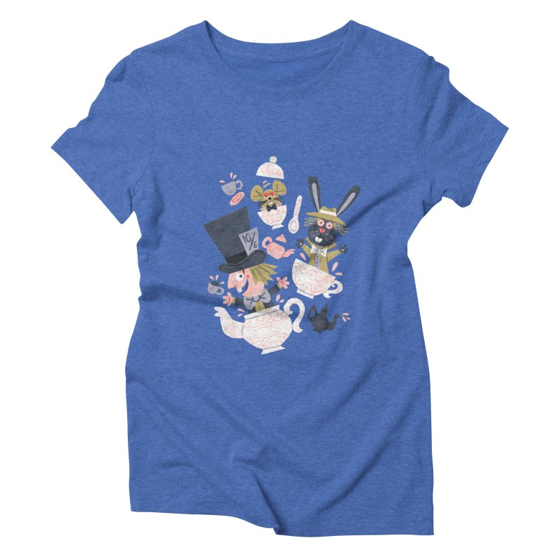Mad Hatter's Tea Party - Alice in Wonderland Women's Triblend T-shirt by WanderingBert Shirts and stuff