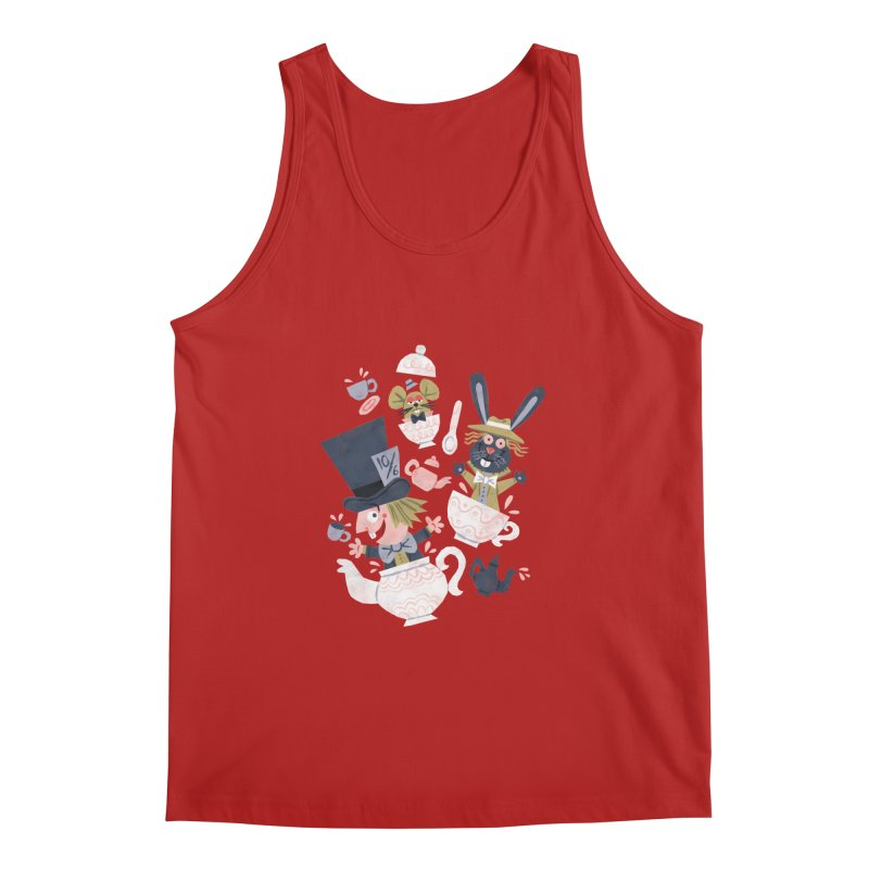 Mad Hatter's Tea Party - Alice in Wonderland Men's Tank by WanderingBert Shirts and stuff