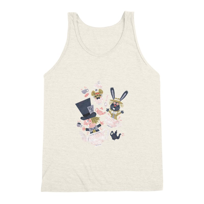 Mad Hatter's Tea Party - Alice in Wonderland Men's Triblend Tank by WanderingBert Shirts and stuff