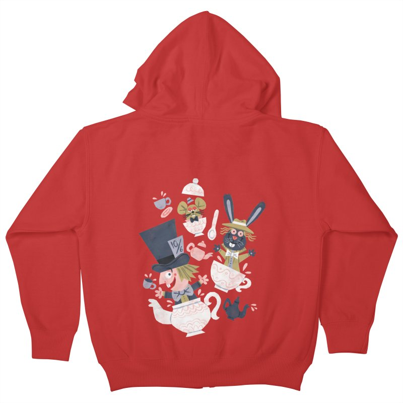 Mad Hatter's Tea Party - Alice in Wonderland Kids Zip-Up Hoody by WanderingBert Shirts and stuff