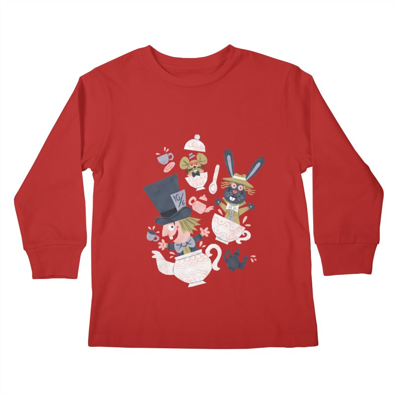 Mad Hatter's Tea Party - Alice in Wonderland Kids Longsleeve T-Shirt by WanderingBert Shirts and stuff