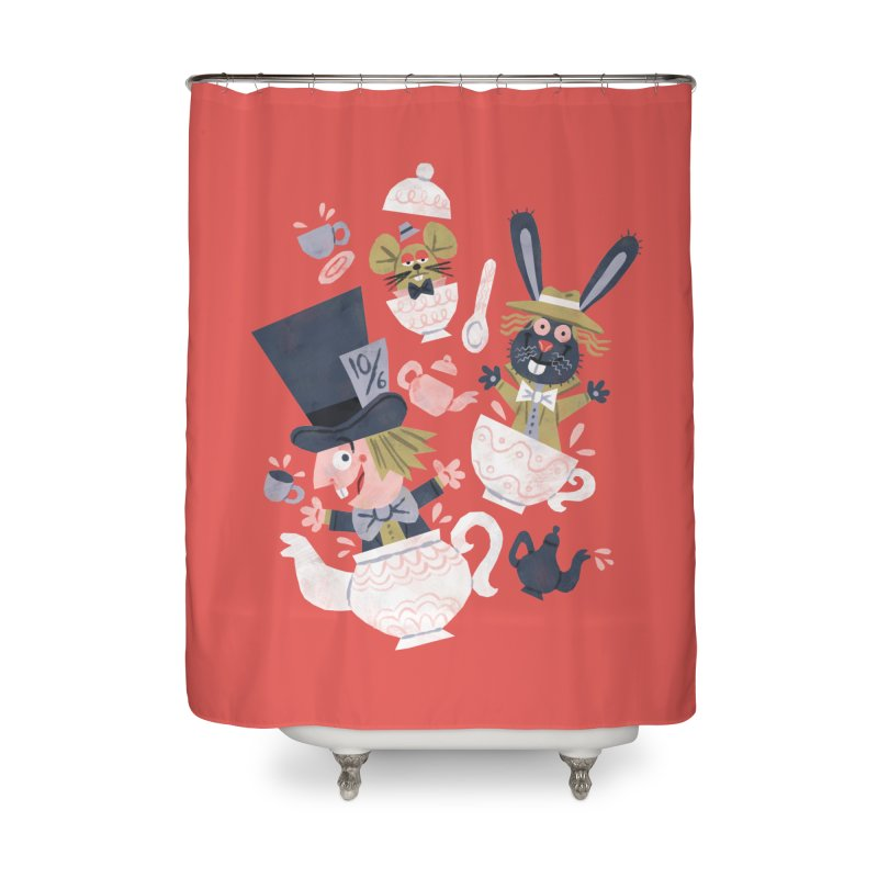 Mad Hatter's Tea Party - Alice in Wonderland Home Shower Curtain by WanderingBert Shirts and stuff