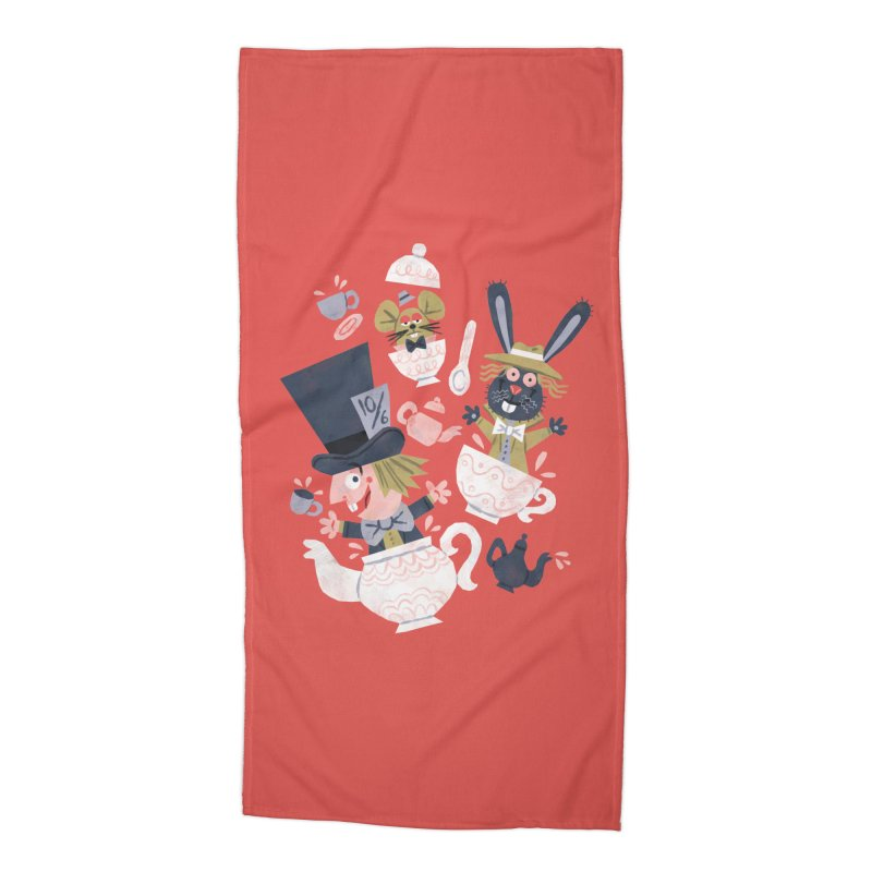 Mad Hatter's Tea Party - Alice in Wonderland Accessories Beach Towel by WanderingBert Shirts and stuff