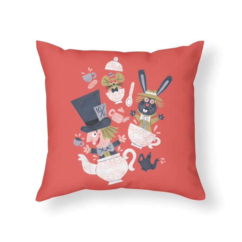 Mad Hatter's Tea Party - Alice in Wonderland Home Throw Pillow by WanderingBert Shirts and stuff