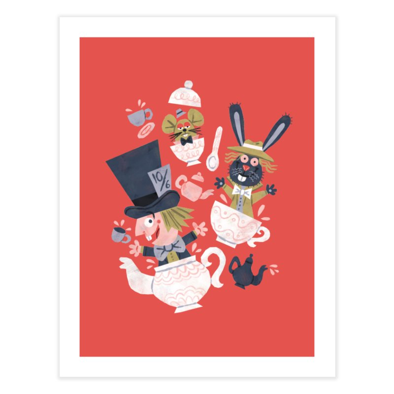 Mad Hatter's Tea Party - Alice in Wonderland Home Fine Art Print by WanderingBert Shirts and stuff