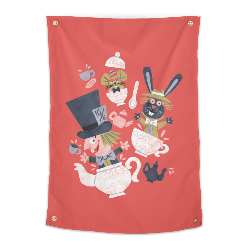 Mad Hatter's Tea Party - Alice in Wonderland Home Tapestry by WanderingBert Shirts and stuff