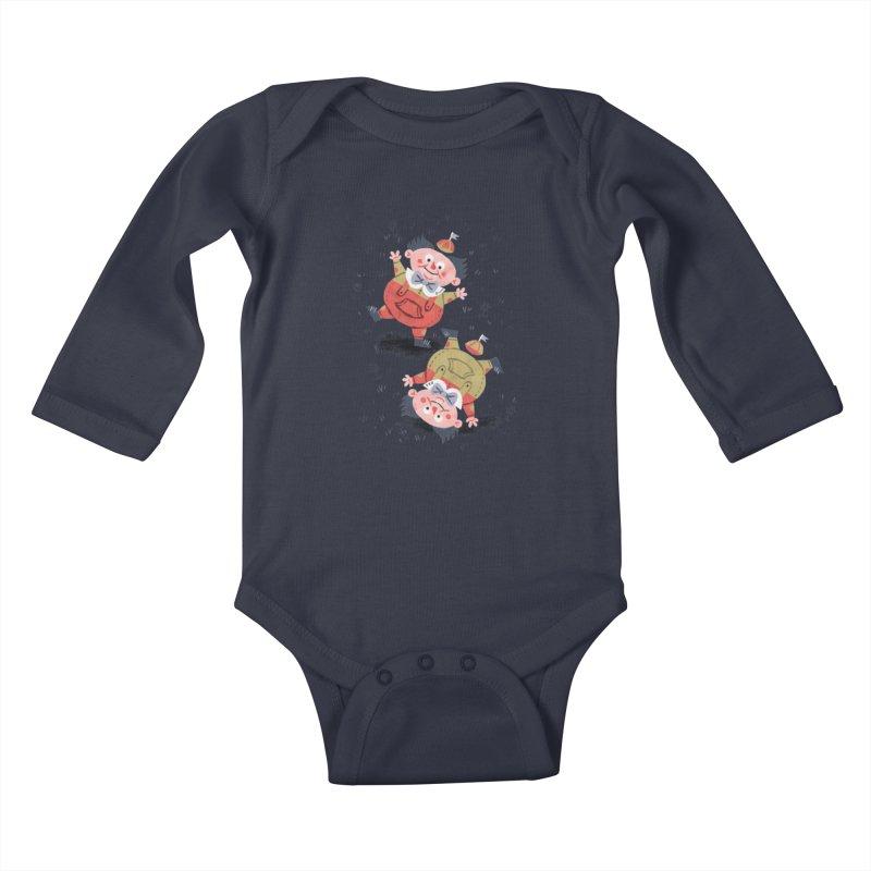 Tweedledum & Tweedledee - Alice in Wonderland Kids Baby Longsleeve Bodysuit by WanderingBert Shirts and stuff