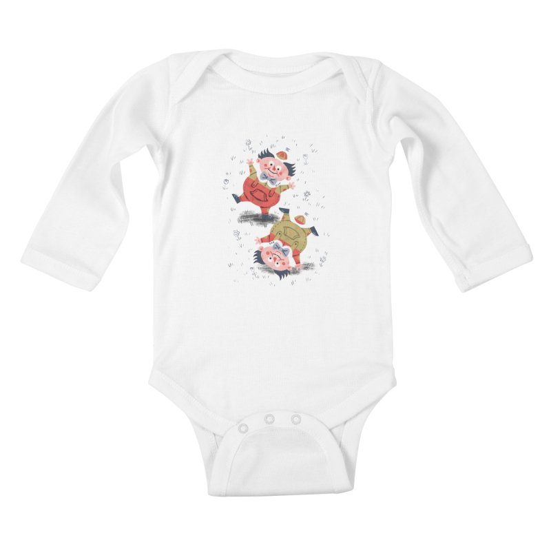 Tweedledum & Tweedledee - Alice in Wonderland Kids Baby Longsleeve Bodysuit by WanderingBert Shirts and stuff
