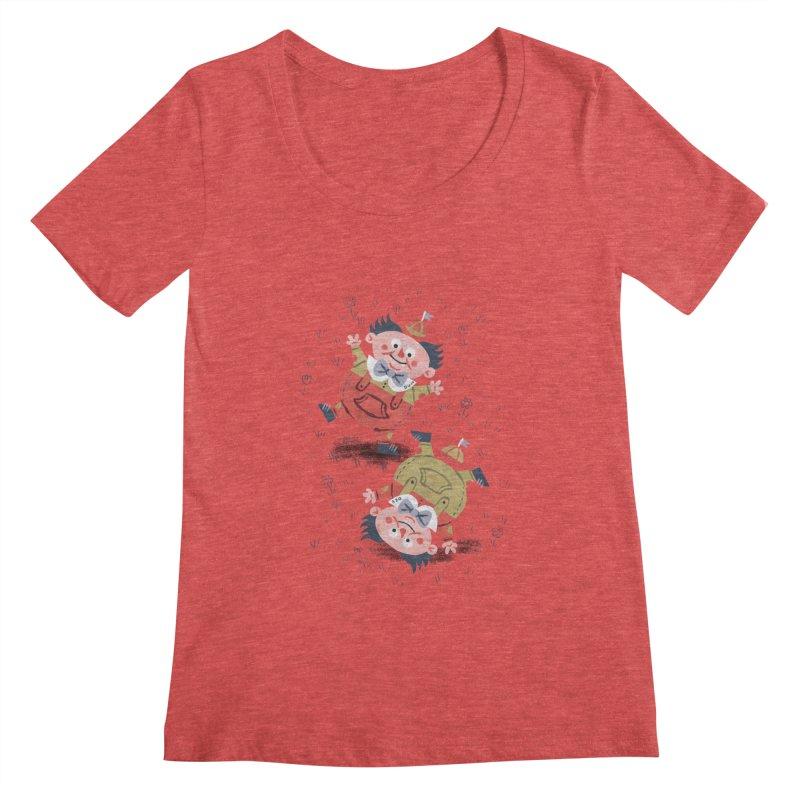 Tweedledum & Tweedledee - Alice in Wonderland Women's Scoopneck by WanderingBert Shirts and stuff