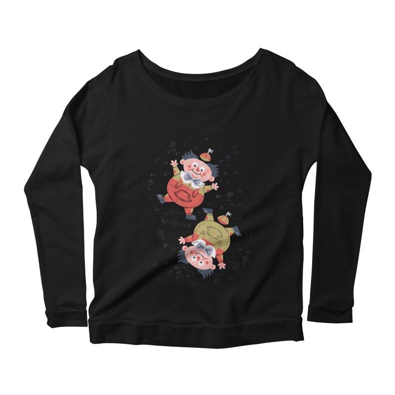 Tweedledum & Tweedledee - Alice in Wonderland Women's Longsleeve Scoopneck  by WanderingBert Shirts and stuff