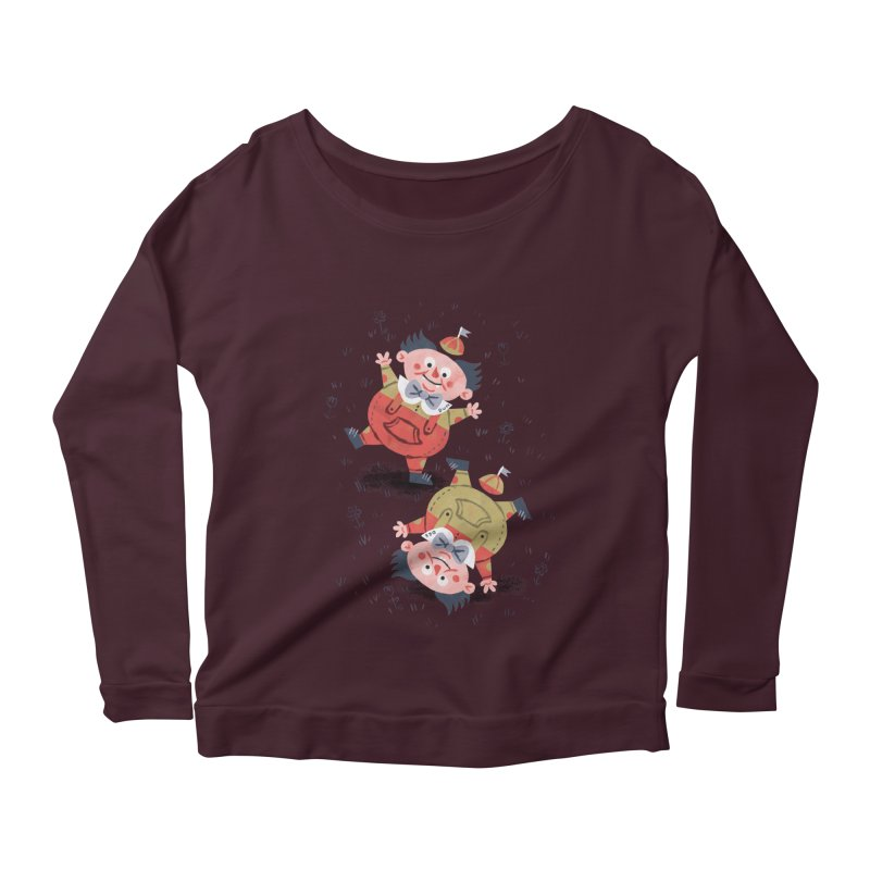Tweedledum & Tweedledee - Alice in Wonderland Women's Longsleeve Scoopneck  by WanderingBert Shirts and stuff