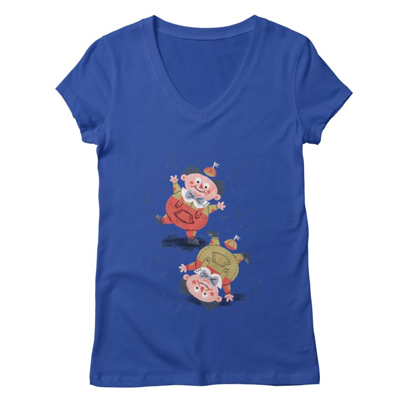 Tweedledum & Tweedledee - Alice in Wonderland Women's V-Neck by WanderingBert Shirts and stuff