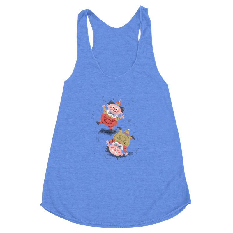 Tweedledum & Tweedledee - Alice in Wonderland Women's Racerback Triblend Tank by WanderingBert Shirts and stuff
