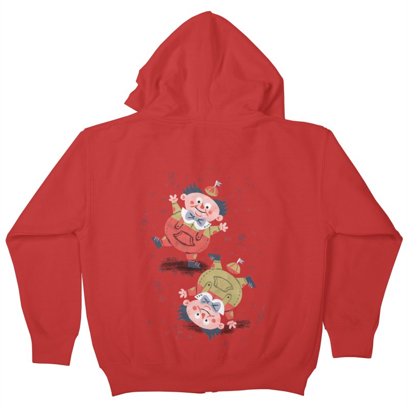 Tweedledum & Tweedledee - Alice in Wonderland Kids Zip-Up Hoody by WanderingBert Shirts and stuff