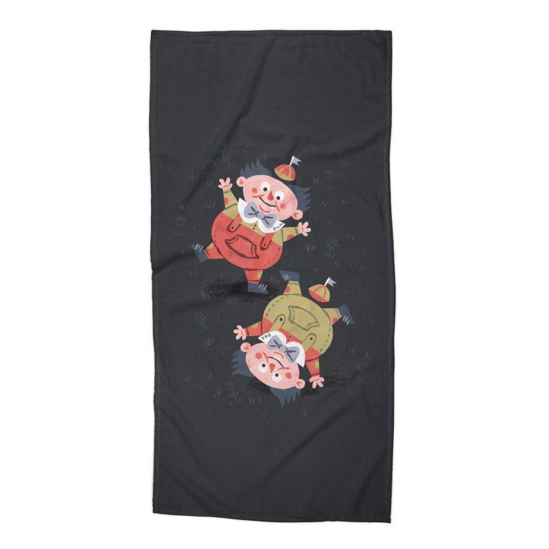 Tweedledum & Tweedledee - Alice in Wonderland Accessories Beach Towel by WanderingBert Shirts and stuff
