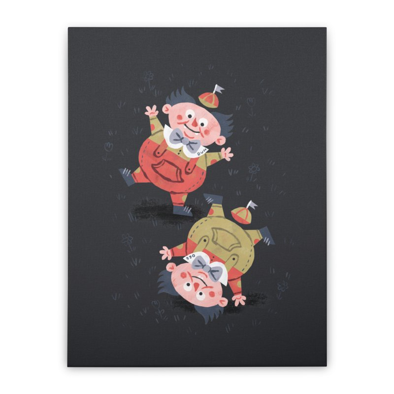 Tweedledum & Tweedledee - Alice in Wonderland Home Stretched Canvas by WanderingBert Shirts and stuff