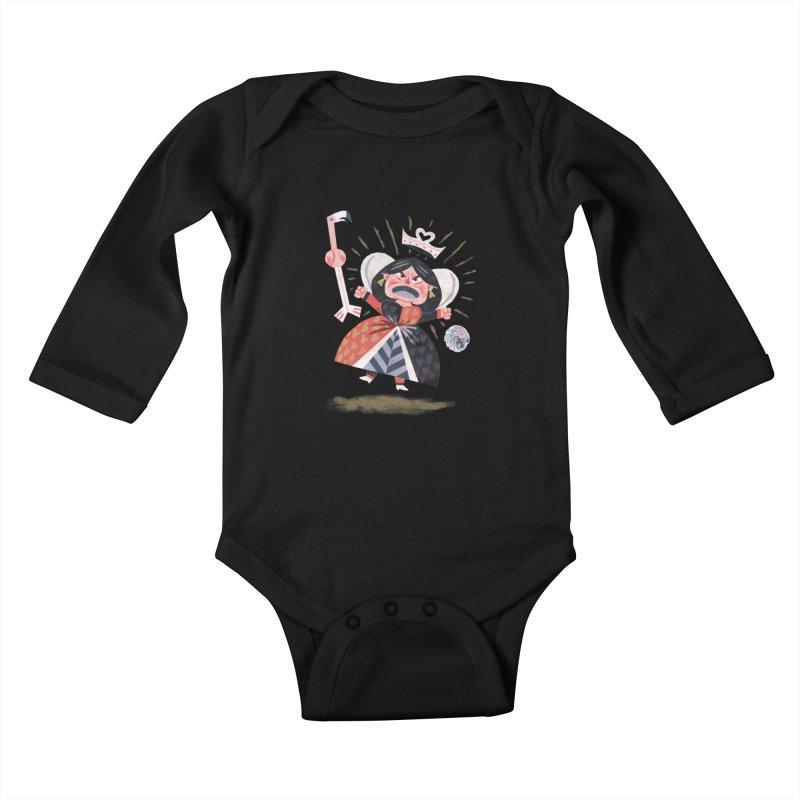 Queen of Hearts - Alice in Wonderland Kids Baby Longsleeve Bodysuit by WanderingBert Shirts and stuff