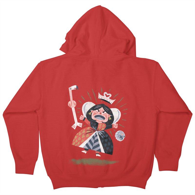 Queen of Hearts - Alice in Wonderland Kids Zip-Up Hoody by WanderingBert Shirts and stuff