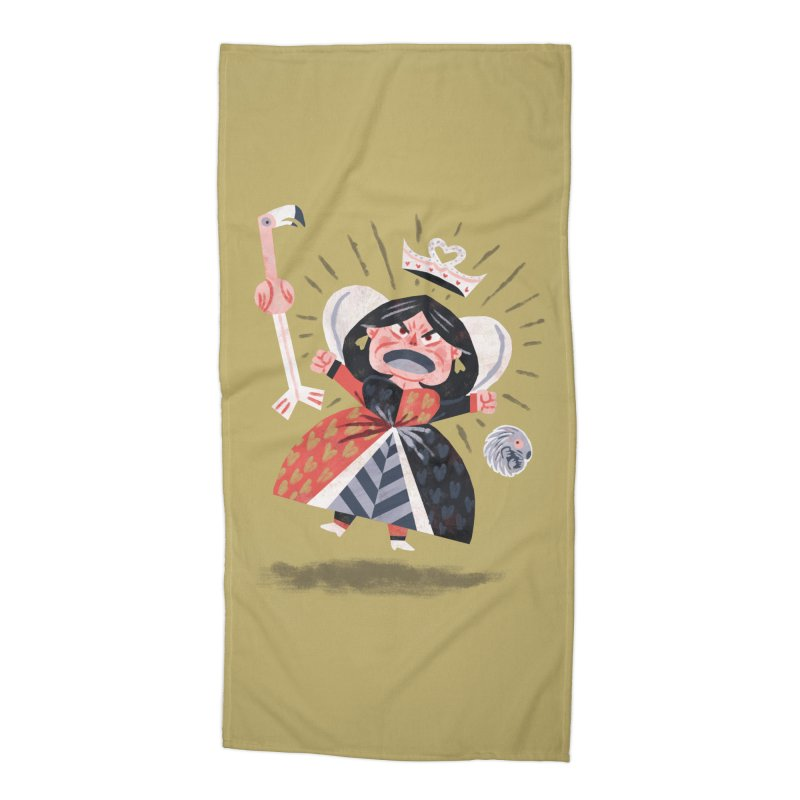 Queen of Hearts - Alice in Wonderland Accessories Beach Towel by WanderingBert Shirts and stuff