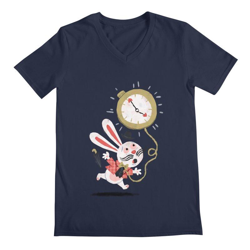 White Rabbit - Alice in Wonderland Men's V-Neck by WanderingBert Shirts and stuff