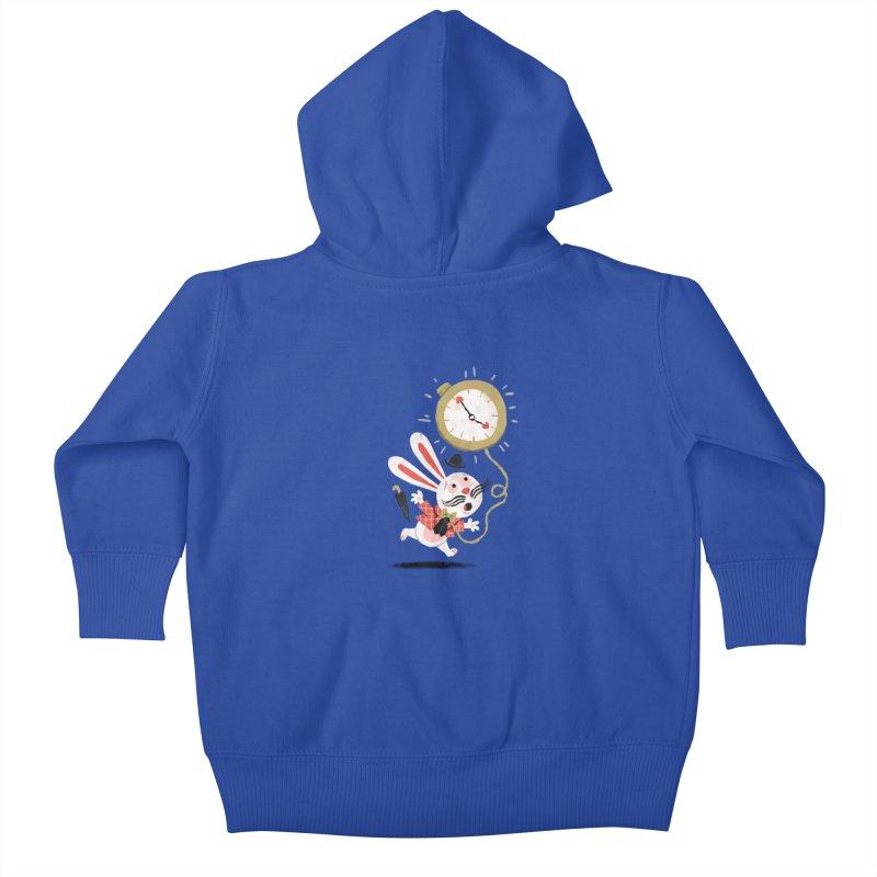 White Rabbit - Alice in Wonderland Kids Baby Zip-Up Hoody by WanderingBert Shirts and stuff