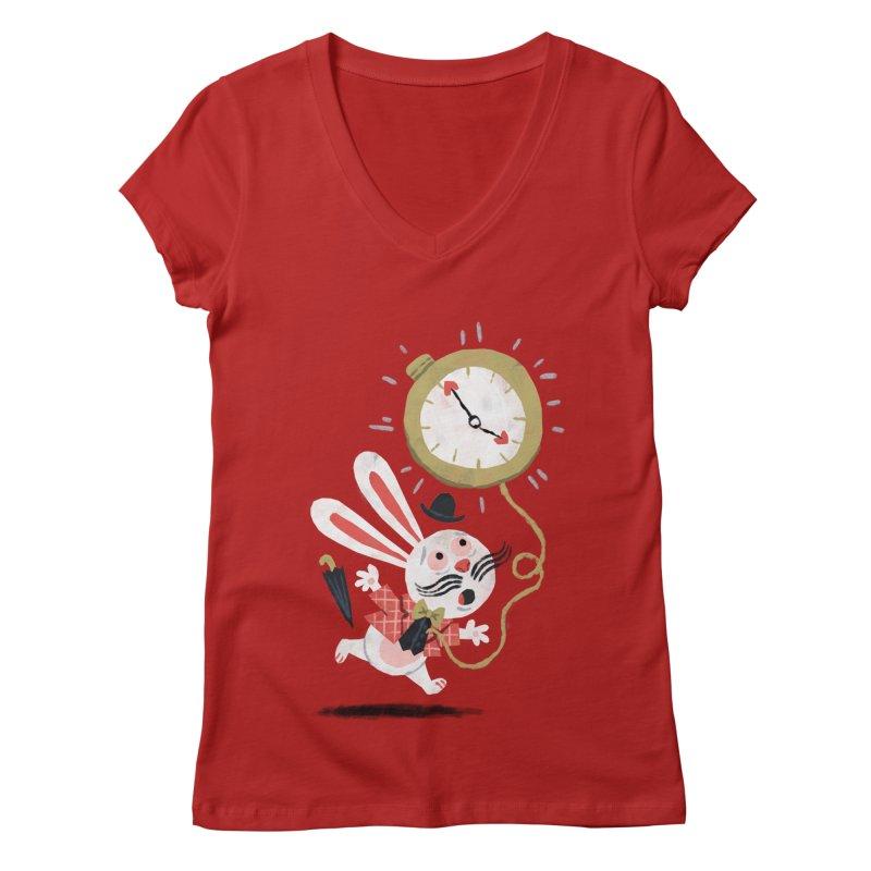White Rabbit - Alice in Wonderland Women's V-Neck by WanderingBert Shirts and stuff
