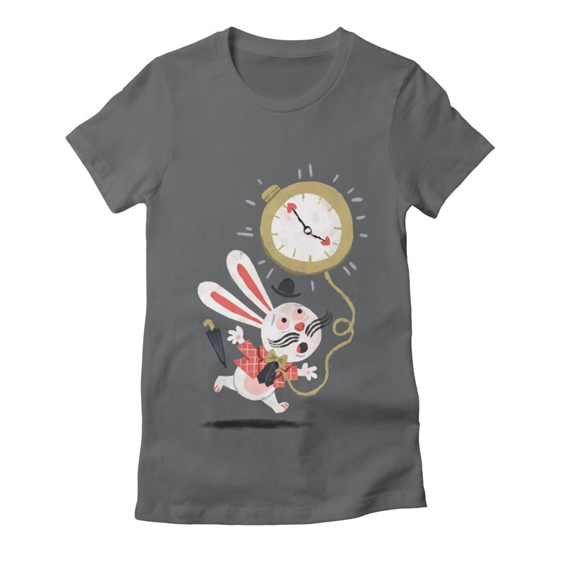 White Rabbit - Alice in Wonderland Women's Fitted T-Shirt by WanderingBert Shirts and stuff