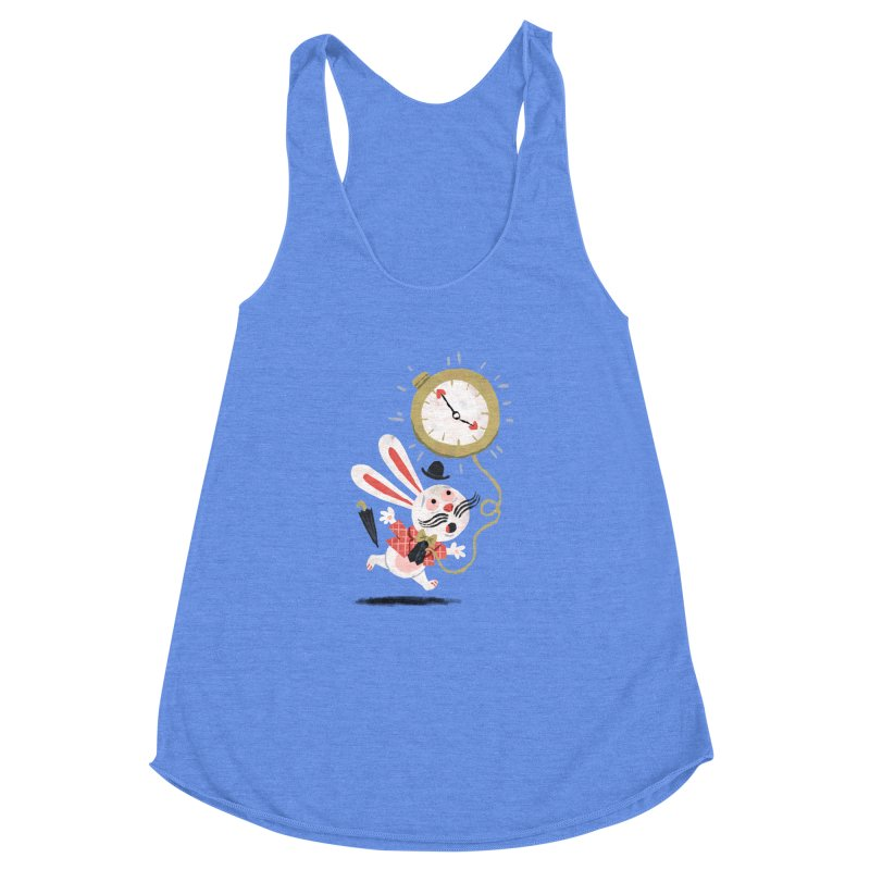White Rabbit - Alice in Wonderland Women's Racerback Triblend Tank by WanderingBert Shirts and stuff