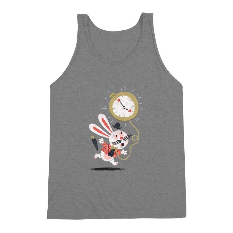 White Rabbit - Alice in Wonderland Men's Triblend Tank by WanderingBert Shirts and stuff