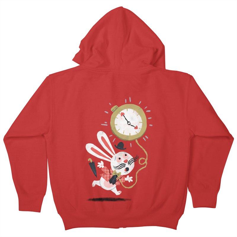White Rabbit - Alice in Wonderland Kids Zip-Up Hoody by WanderingBert Shirts and stuff