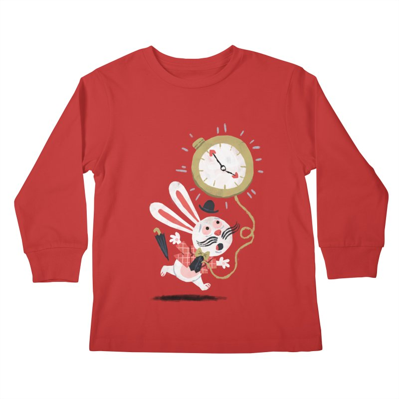 White Rabbit - Alice in Wonderland Kids Longsleeve T-Shirt by WanderingBert Shirts and stuff