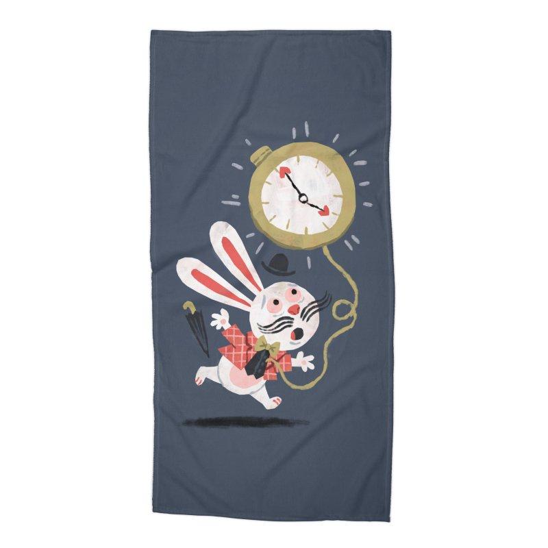 White Rabbit - Alice in Wonderland Accessories Beach Towel by WanderingBert Shirts and stuff