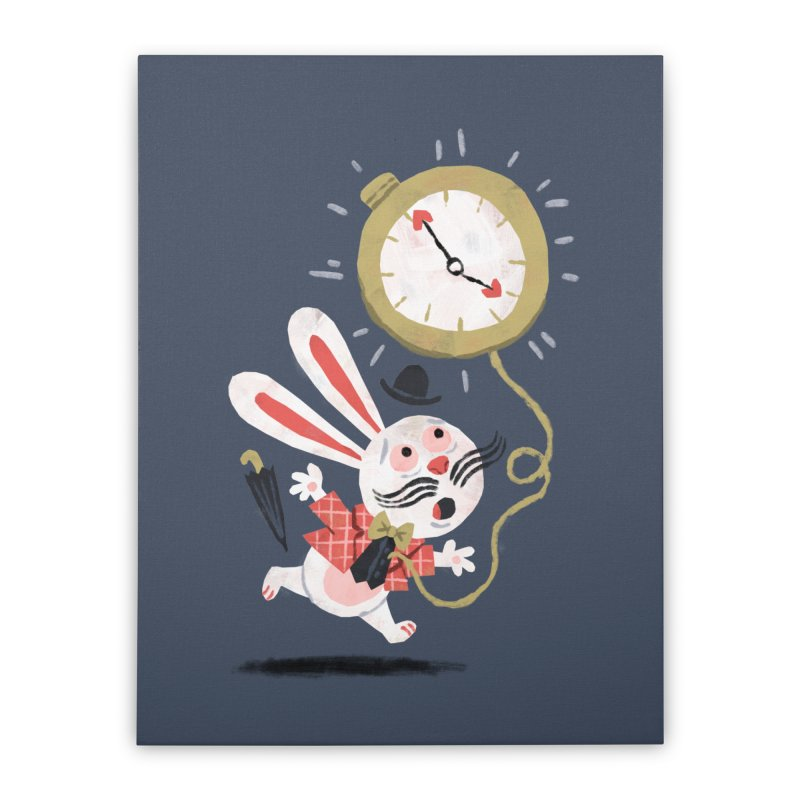White Rabbit - Alice in Wonderland Home Stretched Canvas by WanderingBert Shirts and stuff
