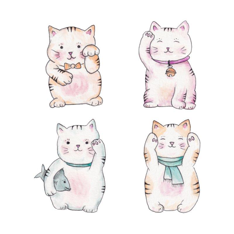 Maneki Neko - Watercolor Kawaii Japanese Lucky Cats Home Duvet by Wandering Laur's Artist Shop