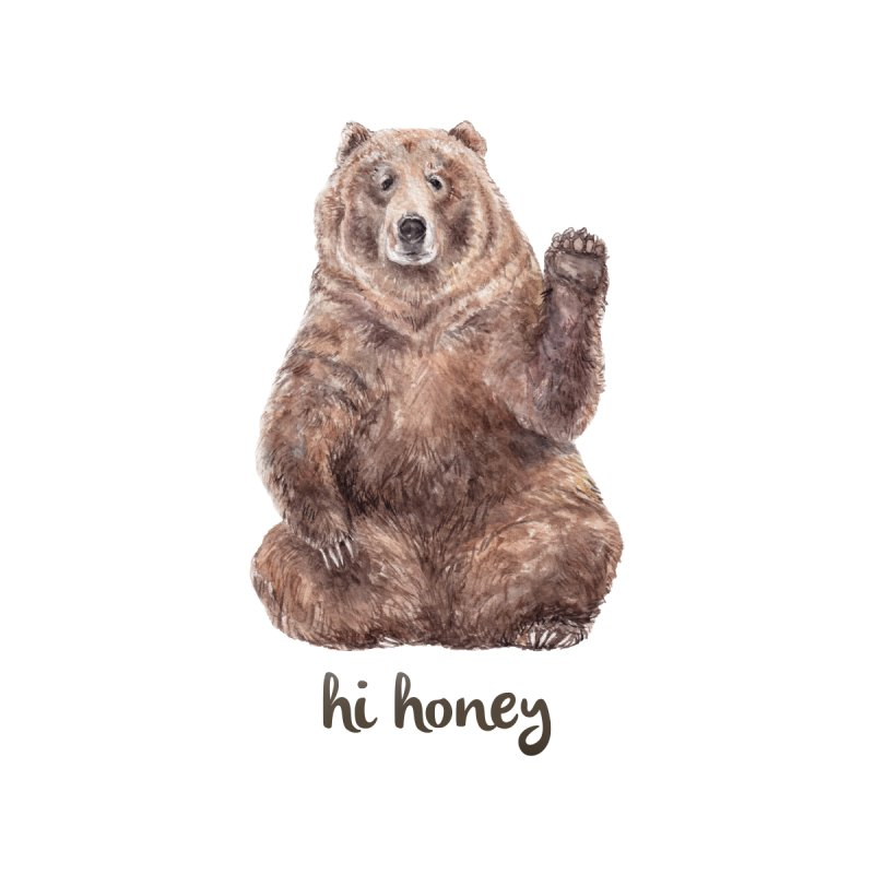 Hi Honey - Brown Bear Watercolor by Wandering Laur's Artist Shop