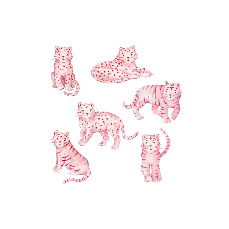 Pink Tiger Cheetah Leopard Panther Watercolor Kawaii Home Shower Curtain by Wandering Laur's Artist Shop